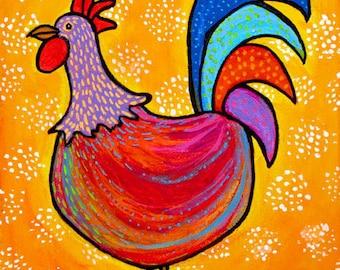 Little Red Rooster, Kitchen  Folk Art Print Shelagh Duffett