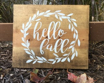 Hello fall, Fall decor, Farmhouse fall  sign, Rustic sign, Housewarming gift, Hostess gift, home decor, Wood hello fall sign,
