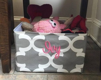 Personalized Pet Basket Any Quatrefoil  -Grey Toy Bin for your Dog or Cat - Great Puppy Gift by Three Spoiled Dogs