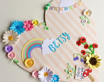 Little girls heart name plaque, new baby, christening, nursery wall art