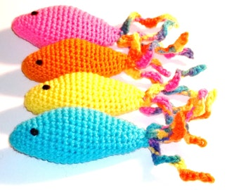Catnip Cat Toy Fish Curly Tail Hand Crochet
