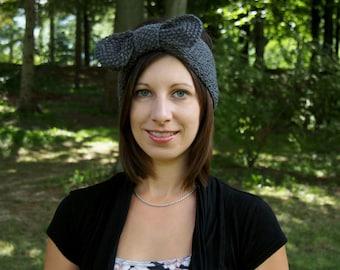 Grey Headband with Bow - Handknit Earwarmers - Cute Cinched Knitted Head Band - Tunisian Earwarmers - Boho Headband - Vegan Headband
