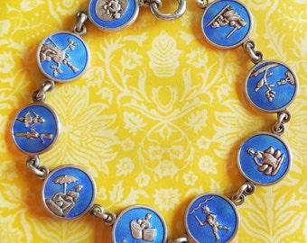 Vintage Enamel Hans Christian Andersen Fairy Tales Denmark Linked Disks Charms Bracelet
