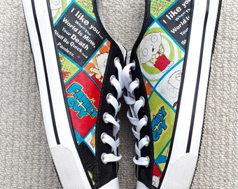 NEW! Canvas Shoes Hand Customised with Stewie, I Like You, Family Guy Fabric, Cartoon Strip.