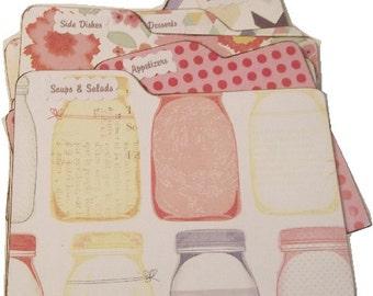 Recipe Tab Dividers MADE TO ORDER , Coordinates with Mason Jar Recipe Box, 4 x 6 4 by 6 (Set of 6) Kitchen Organization
