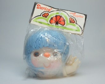 Darice Large Doll Head with Hands, Number 50018 Blue Hair, Blue Eyes