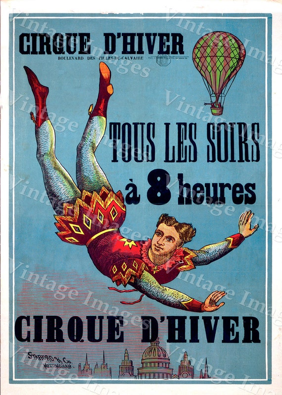 Vintage French Cirque d' Hiver (Winter Circus) paris france Poster Fine Art Print Giclee home wall decor