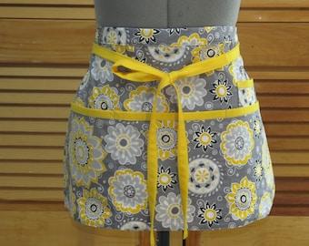 Happy Yellow and Grey Flowers - Teacher Craft Vendor Utility Apron