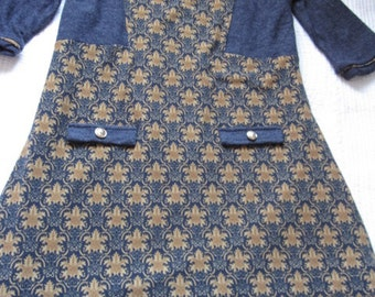 SALE! Vintage Yumi Navy And Gold Knitted Dress Size M