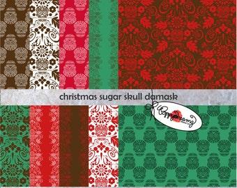 Christmas Sugar Skull Damask: Digital Scrapbook Paper Pack (300 dpi) 10 digital papers Steampumk Gothic Card Making