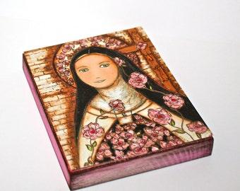 Die kleine Blume Jesu - Giclee Drucken auf Holz (4 x 5 inch) Volkskunst von FLOR LARIOS