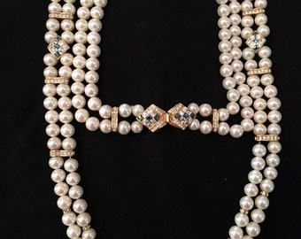 Signed Christian Dior Statement Double Strand Faux Pearl Necklace