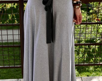DRESCODE - long, 100% cotton skirt with a bow / grey  / max skirt / long skirt / grey skirt / brown skirt / vintage / unique skirt