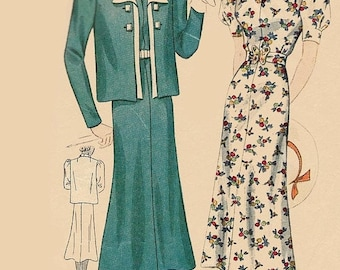 ON SALE Vintage 1930s Regal Afternoon Dress and Jacket Unique Neckline Simplicity 2454 30s Art Deco Sewing Pattern Size 16 B34