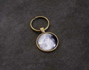 Bronze Moon Phase Keychain - Moon Phase Keyring - Glass Dome Key Fob Full Moon Phase Key ring Pendant Charm