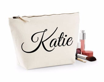Personalised Script Name Make Up Wash Bag Toiletry Canvas Birthday Christmas Gift Present