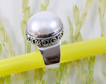 Freshwater pearl and 925 Sterling Silver Ring  --  4176