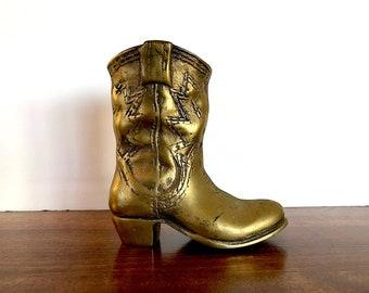 Vintage Brass Cowboy Boot Figurine - Southwestern Decor - Brass Pencil Holder  - Cowgirl Decor - Cowboy Decor - Country Western Decor