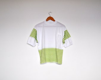 Vintage White and Lime Green Striped Cotton Tee Shirt
