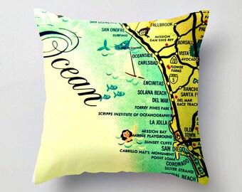 California Pillow Covers 18x18, CA Throw Pillows for Home Decor, San Diego Pillows, California Gifts, San Diego Gifts, California Map Pillow