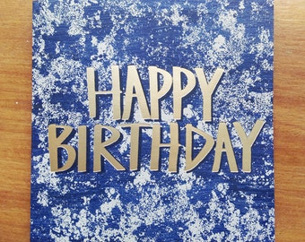 Happy Birthday Foil Blocked Greetings Card, Lichen Blue