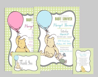Classic Winnie the Pooh Baby Shower Invitation Boy or Girl Add-ons available