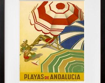 Art Spain Beach Travel Print Spanish Beach Vintage Poster (TR148)