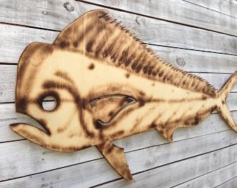 Dolphin Mahi Fish Wood Sign, Tiki Bar Decoration, Man Cave Decor, Patio Wall Art