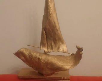 Wooden sailing  boat. (abstract)