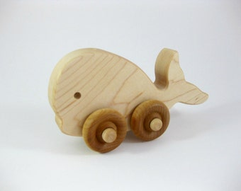 Wood Whale Push Toy, organic wooden toy