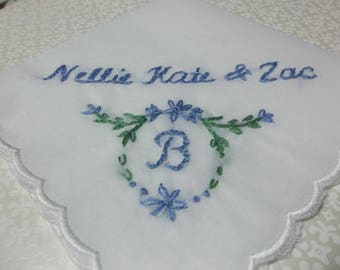 Something blue, monogrammed, wedding handkerchief, hand embroidered, personalized wedding gift, bridal gift, bouquet wrap, gift for bride