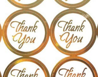 Thank You Wedding Foil Seal Stickers, 1 Inch, 100 PCS Clear with Gold edge, Thank You Labels, Invitation, Envelope Seals, Favor Stickers.