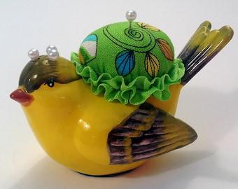 "Pincushion.  Yellow Bird Ceramic, 3.25"" by 2.25"",  3 oz net, #0822"