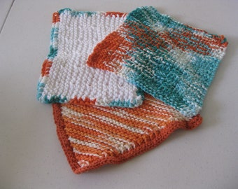 Bold Colors Hand Knit Dish Cloth Set