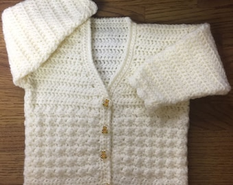 PDF Instant Download Baby Crochet Pattern For V Neck Cardigan Sizes 3 months to 6 years (1005)