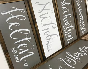 Custom Last Name Sign for Wedding or Bridal Shower Gift | Hand Lettered | Calligraphy | Wood Sign | Farmhouse Sign