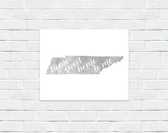 Home Sweet Home to Me Tennessee Gray & White Wrapped Canvas Print, Wall Decor