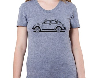 VW Bug, Beetle Graphic printed on Women's American Apparel t-shirt