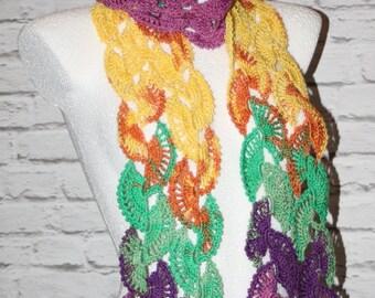 Crochet colorful scarf, crochet shawl, elegant scarf, lace shawl scarf, boho shawl, boho scarf, romantic scarf