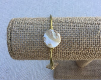 Natural Shell Bead Wire-Wrapped Bangle Bracelet: The Mermaid