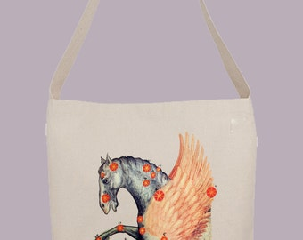 Stunning illustration of the Pegasus Constellation - Hobo Sling Tote, 14.5x14x3, Crossbody Strap, Magnetic Closure, Inside pocket