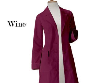 Free Shipping Gestures Women Lab Coat 36 inch Multi Pockets & Colors, Monogrammed Lab Coat, Customize Lab coat, Black Coat, Pink Coat, Women