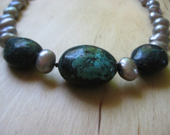 Insouciant Studios Sundance Necklace Natural Pearl and Turquoise