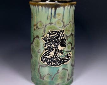 Art Nouveau Floral Maiden Woman Face Stamped Gold Gray Silver Olive Green Copper Crystalline Large Mug Beer Stein