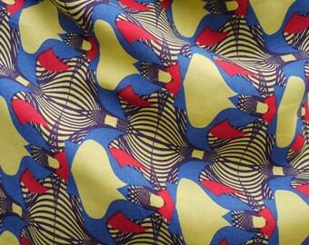 Dark purple print cotton fabric yellow red and blue.