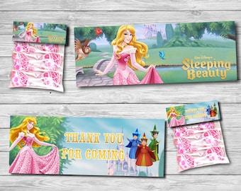 Sleeping beauty Candy/ Thank you candy Sleeping Beauty /Sleeping beauty favor bag topper, printable favor bag topper candies | AU_CANDY