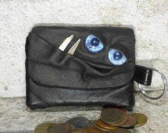 Coin Purse Zippered Change Purse Black Leather Monster Face Pouch Key Ring Harry Potter Labyrinth 30