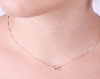 Choker Necklace,Gold Choker,Dainty Choker,evil eye charm,choker necklace,eye necklace,protection necklace - A111