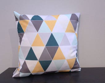SALE Pillow cover blue teal grey triangle 18 inch 18x18 modern accessory home decor nursery baby gift present zipper canvas ready to ship