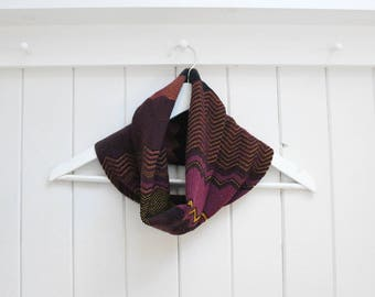 Knitted Merino Snood Scarf. Handmade Christmas Present Idea, Perfect for Moms, Sisters, Friends, Grandma! Burgundy, Maroon, Magenta & Black